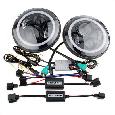 الصين 70W Led Jeep Wrangler Headlights , High Low Beam Halo Angel Eyes Headlights المزود