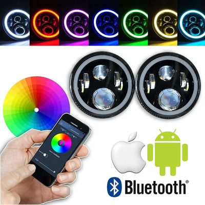 7 Inch Round RGB LED Headlights Bluetooth Phone APP Control High Low Beam